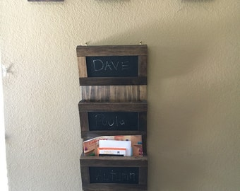 Mail holder with chalkboard