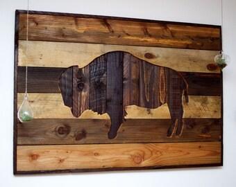 Large Rustic Buffalo Wall Art