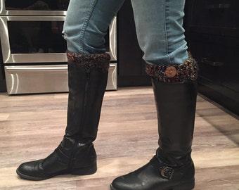 Crocheted Stylish Black Multicoloured Boot Cuffs