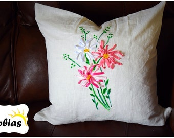 Simple and modern pillow cover-oilpaint-embroidery-100% ramie