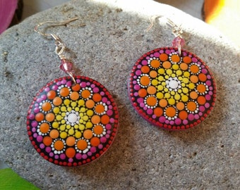 Mandala earrings hand-painted cherryblossom hippie Bohemian Festival