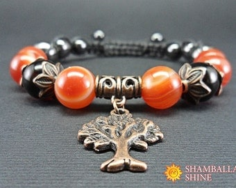 Love gemstone bracelet Carnelian bracelet Amber beads Cooper tree Shamballa bracelet Healing bracelet Ideal gift Bead bracelet Hematite bead