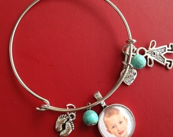 Mother's Day, Baby gift , baby bracelet photo jewelry, newborn gift