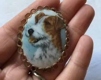 Vintage Oval Jack Russell Terrier Dog Portrait Brooch Pin