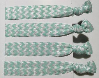 Chevron Hair Ties - light blue (set of 4)