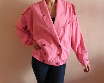 Vintage Pink Jacket Women's Jacket Pink Windbreaker Oversized Windbreaker Retro Jacket Bomber Jacket Cropped Women Cardigan