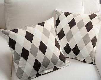 1 Pillow cover - Black Grey White diamonds