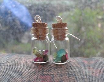 Mini Gem Bottle Earrings