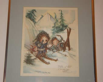 1981 Jody Bergsma Limited Edition Falling is Mostly a Matter of Mind Watercolor Signed and Numbered 2866/4500 Framed