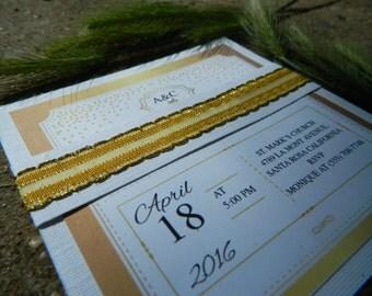 Handmade Gold/White wedding invitation