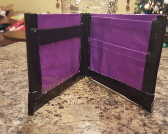 Purple and black duct tape wallet with ID slot
