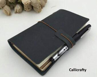 Deep Green Leather Midori Inspired Traveler's Notebook, Refillable Leather Notebook Journal - PJ006