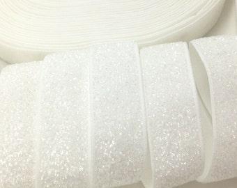 "5 Yards, 5/8"" White Glitter elastic, Stretch Velvet elastic ribbon,Elastic band,Sewing Elastic Wholesaler,Both 3/8 and 5/8 are available,B-9"