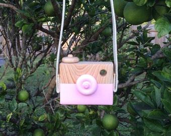 Hand made wood toy camera - Pretty pink - pretend creative Present Wooden toy camera.  Wood Toy Creative Play Boy Girl birthday gift pink