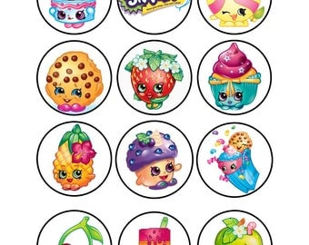 Edible Shopkins Cupcake Cookie Toppers