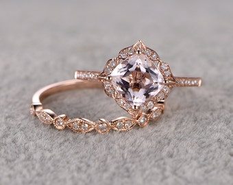 2pcs Morganite Bridal Ring Set,Engagement ring Rose gold,Diamond wedding band,14k,7mm Cushion Cut,Promise Ring,Retro Vintage Floral,Art Deco