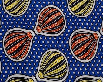 Blue Yellow Orange Hot Air Balloons Wax Prints African Ankara Fabric Per Yard