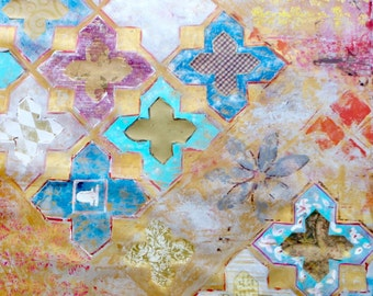 Abstract Mixed Media Collage Painting