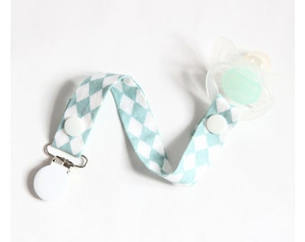 Pacifier clip lollipop boy or girl fabric with or without adapter silicone (fits all brands of nipples)
