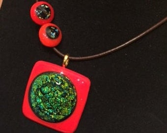 Fused glass  pendant and studs set