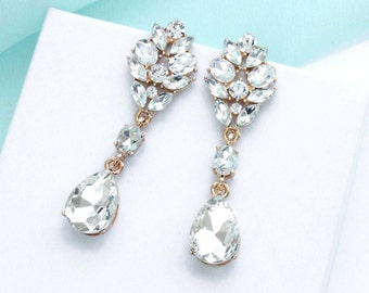 Wedding earrings, GOLD Bridal earrings, Gold crystal earrings, Bridal jewelry, Long drop earrings, Bridesmaid earrings 11354G