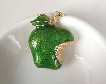 Green Granny Smith Apple Enamel Brooch Pin Bite Mark Bitten