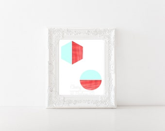 Minimal Coral and Mint Shapes Print