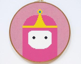 Princess Bubblegum, Adventure Time Cross Stitch Pattern, Easy Cross Stitch Chart, PDF Format, Instant Download