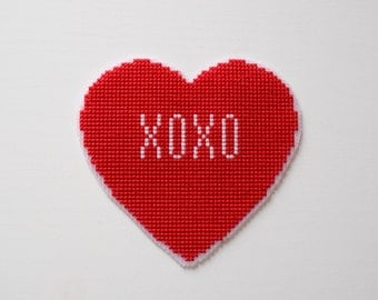 Hearts Cross Stitch Pattern, 6 in 1, Cute Valentine's Day Cross Stitch Pattern, Gift Counted Chart, PDF Format, Instant Download