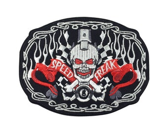 Speed Freak Skull Patch Embroidered Punk Patch Iron on Patch Sew on Patches