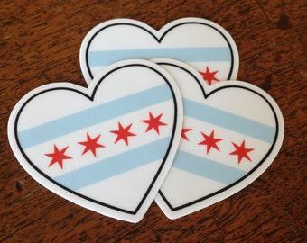Three Chicago Flag Stickers
