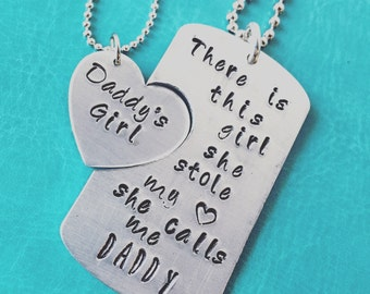 Daddy and Daughter Necklace - There Is This Girl She Calls Me Daddy - Daddy's Girl