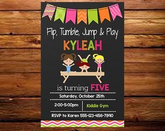 Gymnastics Birthday Invitation, Gymnastic Party Invitation, Gymnastic Party