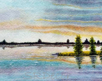Sunset - Original Watercolor Painting. Size - 5 inch x 10.5 inch