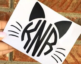Free Sh | Halloween Cat Monogram Decal