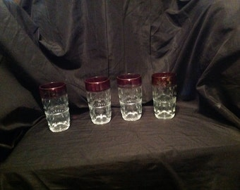 Kings crown thumbprint tumblers set of 4 by Indiana glass company