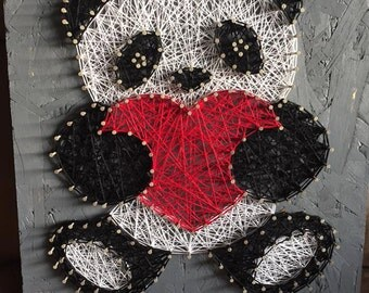 Panda w/ Heart Homemade String Art