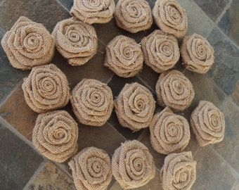 18 Natural Tan Burlap Roses, Tan Burlap Rosettes Rustic Burlap Wedding, Handmade Rustic Flowers