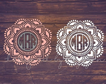 Reverse Mandala Decal, Mandala Decal, Mandalas, Yeti decal, Decals, Monogrammed mandala, Monograms, Car decal, birthday gifts, Vinyl Decals