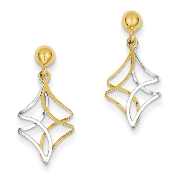 14 karat yeloow white gold two tone post dangle earrings