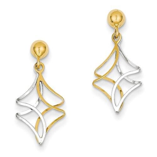 14 karat yeloow white gold two tone post dangle earrings for 14 karats fine jewelry