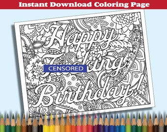 Happy Fxcking Birthday Coloring Book Page - Curse Word Sweary Adult MATURE product