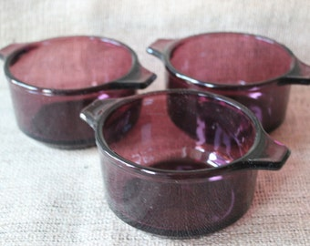 Cranberry Glass Handled Bowls, #572