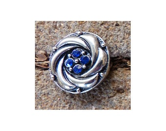 20mm Bling Interchangeable Snap Charm, Blue Stones with Sparkle, Snap Into Any Accessory, Rhodium Plated, Six Available