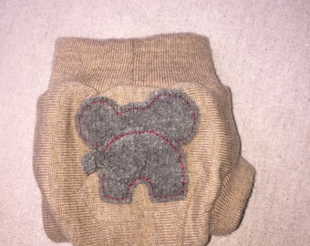 Upcycled Wool Diaper Cover ELEPHANT double layer, soaker liner, bullet proof, night time, cloth diapering, baby gift, wool shorties, shortie