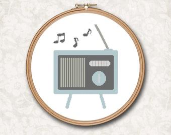 Vintage Retro Radio 1950's  Music Hipster Modern Counted Cross Stitch Pattern - PDF Digital Download