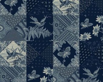 Penny Rose Meadow Fabric - Civil War Fabric - Blue