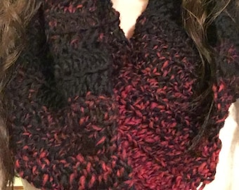 ONE Red and Black Ombre Scarf