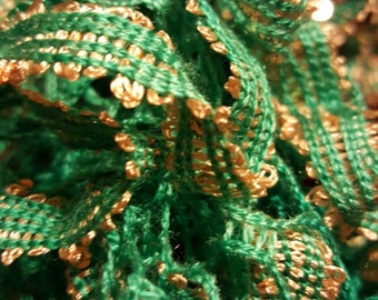 Green and gold ruffly scarf with sparkles