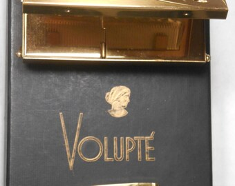 Volupte 1950 Vintage Compact Purse with Art Deco Lighter